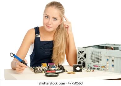 Computer Repair Engineer, blonde girl
