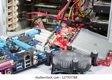 computer repair or upgrade, open pc and parts at it