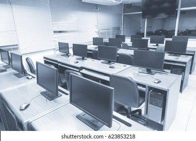 computer room in University with big TV screen