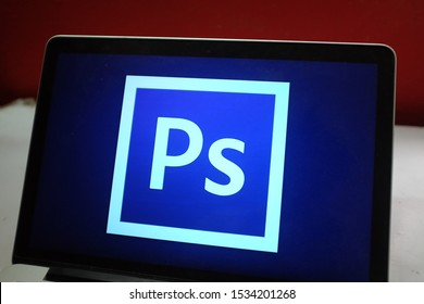 Computer screen with the Adobe Photoshop logo that is a raster graphics editor developed by Adobe Systems Incorporated. Spain madrid. October 17, 2019