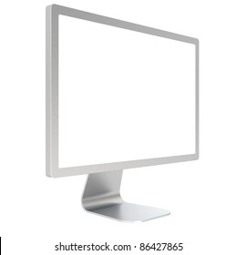 Computer Screen of Brushed Steel. Side view, Isolated.