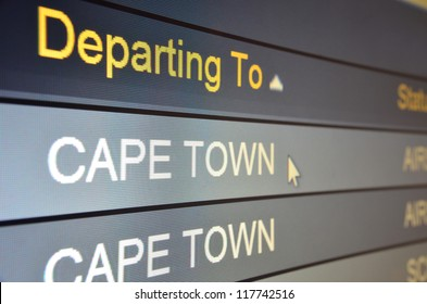 Computer screen closeup of Cape Town flight status