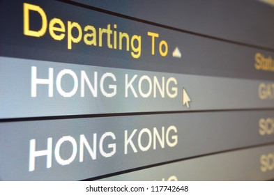 Computer screen closeup of Hong Kong flight status