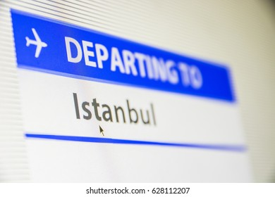 Computer screen close-up of status of flight departing to Istanbul, Turkey