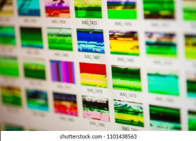 Computer screen with file browser that show damaged digital image file data
