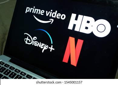 Computer screen with the Netflix logo, Prime Video, HBO and Disney plus. All are online services to view audiovisual content. United States, California. Tuesday, October 29, 2019