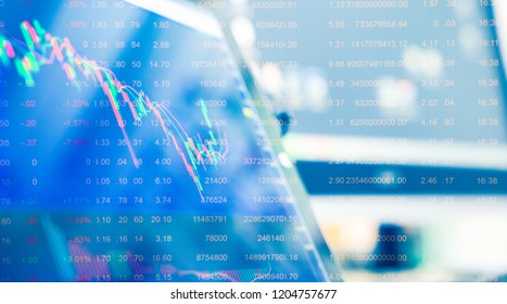 Computer screen with selective focus of technical price graph and indicator, red and green candlestick chart, market volatility, up and down trend. Stock trading, crypto currency background.