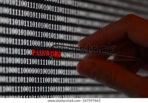 Computer screen shot with binary code and password text, great concept for computer, technology and online security