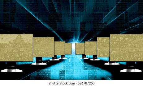 Computer screens with background, 3d illustration