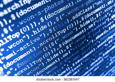 Computer script.  Abstract screen of software. Computer program. Programmer occupation. Software source code. (Code is my own property there is no risk of copyright violations)