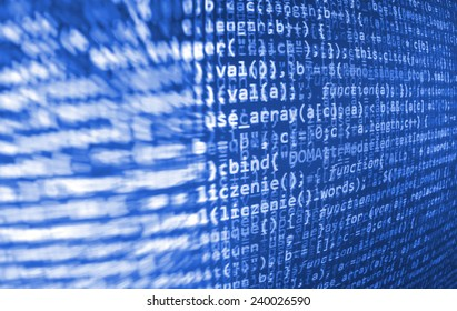 Computer script. Programming code abstract screen of software developer. Digital abstract bits data stream, cyber pattern digital background.  Selective focus effect. Blue color.