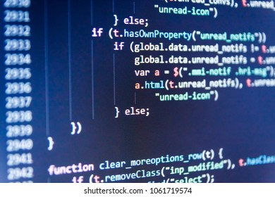 Computer script typing work.  Coding script text on screen. Coding cyberspace concept. Developing programming and coding technologies. Programmer occupation job.