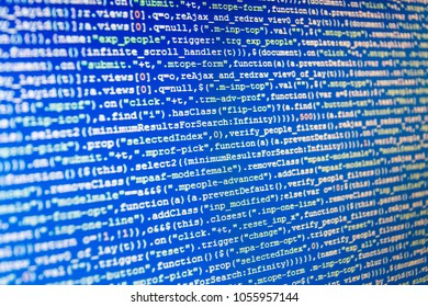 Computer script typing work.  Source code close-up. Data network hardware Concept. Programmer developer screen. Coding script text on screen. Software development. SEO concepts for better SERP.