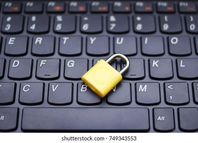 Computer Security Concept With A Closed Padlock On The Keyboard