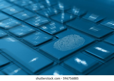 Computer Security - Fingerprint on Notebook Keyboard -