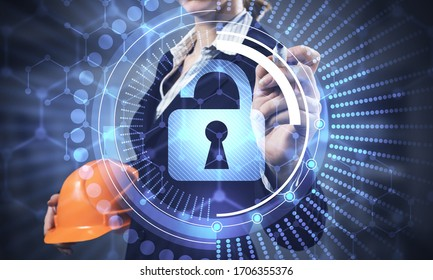 Computer security and information technology. Virtual padlock blue hologram and business woman with safety helmet. Risk management and professional safeguarding. Password protection and authorization
