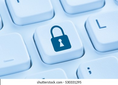 Computer security internet lock icon data protection symbol blue keyboard