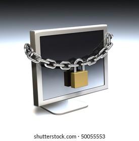 Computer security, locked computer