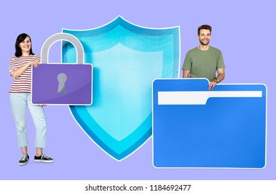 Computer security and privacy concept shoot