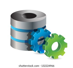 computer server and gears illustration design over white