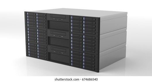 Computer server storage units isolated on white background. 3d illustration