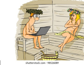 Computer sits in the sauna with a laptop and do not pay attention to the naked girl