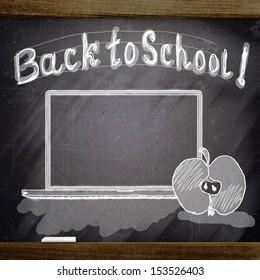 computer sketch on school blackboard