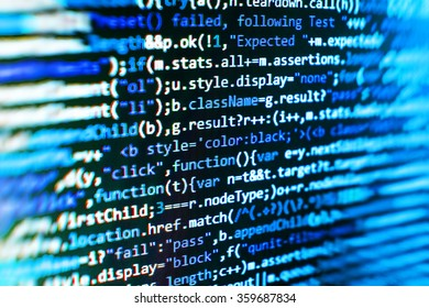Computer source code programmer script developer. Modern technology background. Web software. Shallow depth of field, selective focus effect.