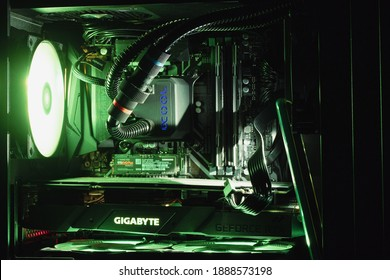 computer system processor. Components of gaming PC with RGB illumination. Standard equipment in virtual reality club. Omsk, Russia, 27.10.2020