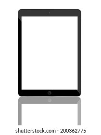 Computer tablet with blank white screen. Isolated on white background