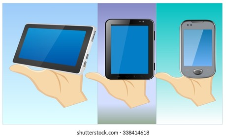 computer tablet and phone view