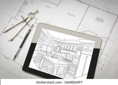 Computer Tablet Showing Kitchen Illustration On House Plans, Pencil, Compass.