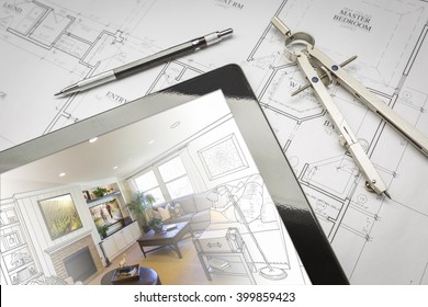Computer Tablet Showing Living Room Illustration Sitting On House Plans With Pencil and Compass. Photos used on the walls and TV are my copyright.