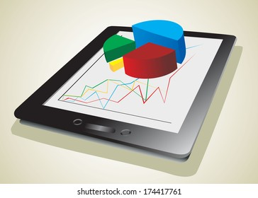 computer tablet showing a spreadsheet with some 3d charts over it