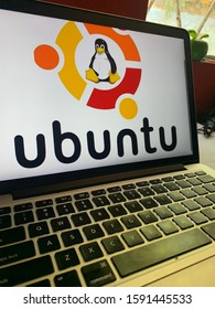 Computer with the Ubuntu Logo (LINUX) is an open source operating system for computers. United States, California January 6, 2020