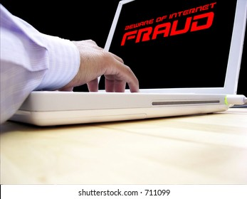 Computer user concerned about internet fraud