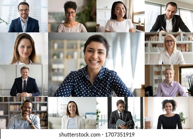 Computer webcam screen full frame view, multi racial young and older businesspeople involved in group on-line videoconference meeting led indian lady, using videocall visual virtual modern application