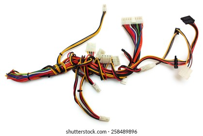 Computer wireharness with connector isolated om white