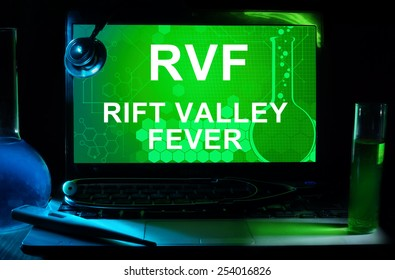 Computer with words  Rift Valley fever (RVF). Test tubes, stethoscope and thermometer.