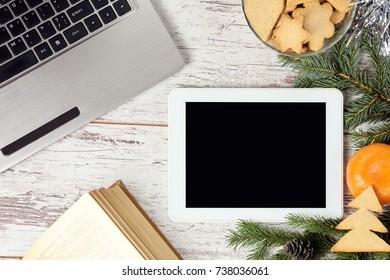 Computer work. Business. New Year. Modern technology.