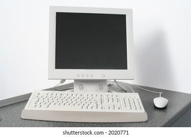 Computer workstation on desk