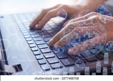 computer-aided drug design, precision and personalized medicine, medical genetics, pharmacy of the future, bioinformatics, molecular genetics concept