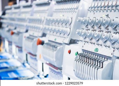 Computerized embroidery machine. Digital textile industry.