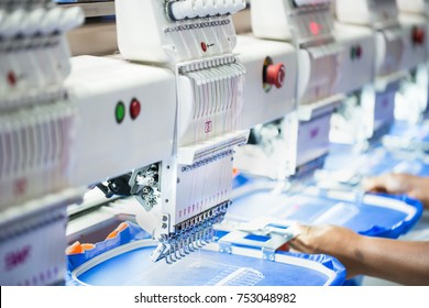 Computerized embroidery machines. Digital textile industry.