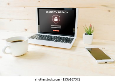 Computer,laptop with blank screen on wood table