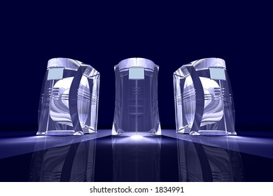 computer-like objects rendered with a glassy look, could be used metaphorical for e.g. transparent business
