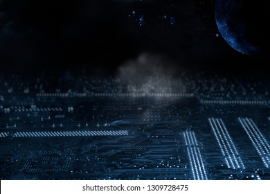 computers circuit-board and space technology