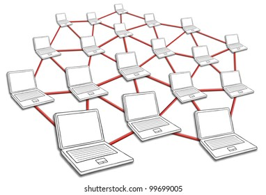 Computers connected in huge network. Symbol for internet and social media.