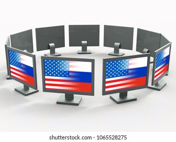 Computers With Flags Showing Hacking 3d Illustration. Cyber Crime  Criminal Campaign by Russian Government To Hack Elections In The USA Using Illegal Online Spying.
