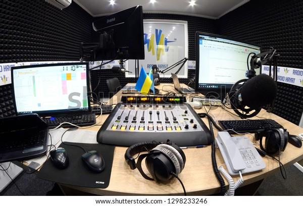 Computers Microphones Headphones Audio Mixer Control Stock Photo